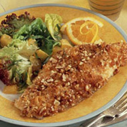 Potato Pecan Crusted Catfish with Ginger Dressed Salad