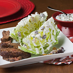 Steak Salad with Raisin Blue Cheese Dressing