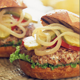 Spiced Pork and Apple Burgers with Maple Dijon