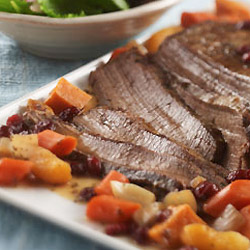 Beef Brisket with Craisins, Sweet Potatoes and Garlic