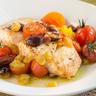 Mediterranean Halibut with Golden Raisins