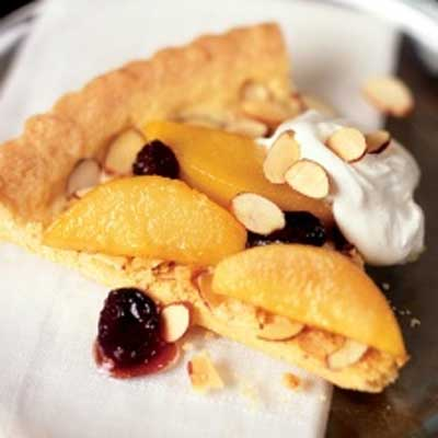 Almond Polenta Tart with Caramelized Pears & Cherries