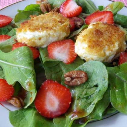 Arugula and Strawberry Salad with Warm Goat Cheese