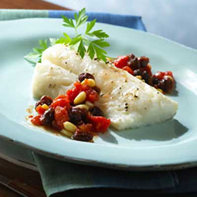 Baked Fish with Raisins and Pine Nuts