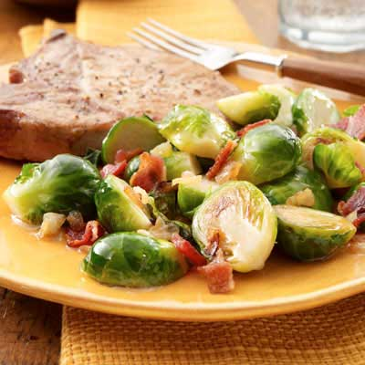 Caramelized Onion & Bacon Brussels Sprouts