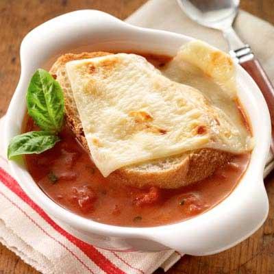Cheese-Topped Tomato Soup