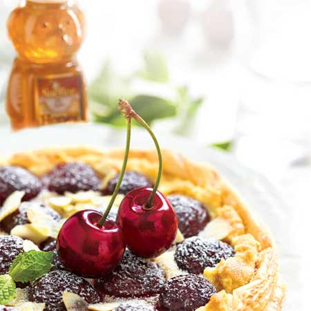 Cherry Tart with Goat Cheese Honey Filling