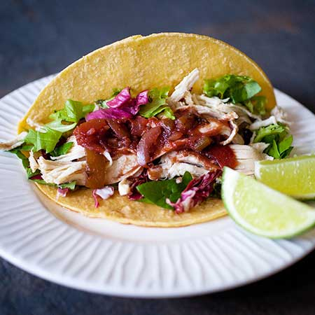 Chicken Tacos with Tomato and Grape Juice Salsa
