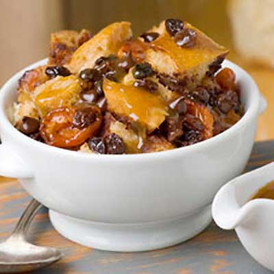 Chocolate, Apricot and Raisin Bread Pudding