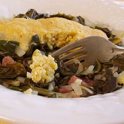 Collards with Ham and Cornmeal Dumplings