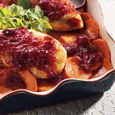 Cranberry Roast Chicken with Sweet Potatoes