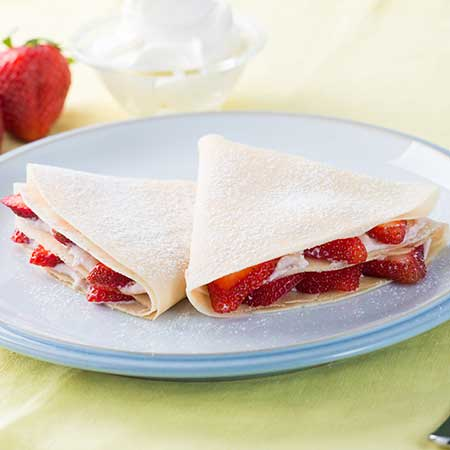 Crepes with Ricotta and Strawberry Spread