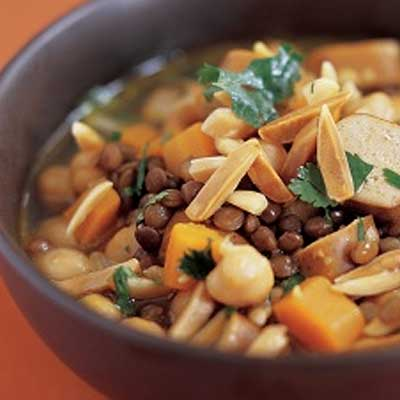 Curried Lentil, Sausage and Almond Soup