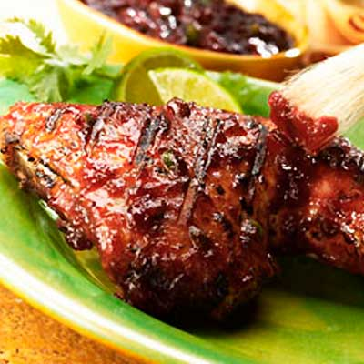 Grilled Chicken Breasts with Tex Mex Cranberry Glaze