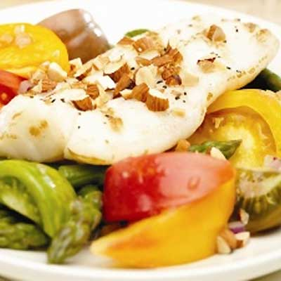 Grilled Fish with Heirloom Tomato, Asparagus and Almond Salad