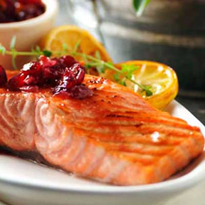 Grilled Salmon with Cranberry Salsa