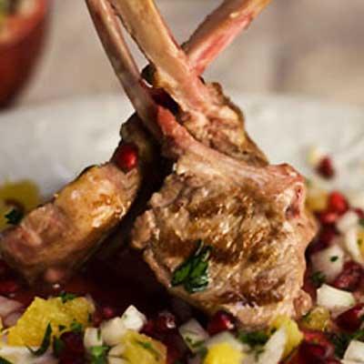 Lamb Chops with Cucumber, Pomegranate & Mint Salsa