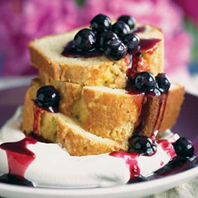Old Fashioned Brown Butter Pound Cake with Blueberry Sauce