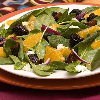Orange and Spinach Salad with Prunes
