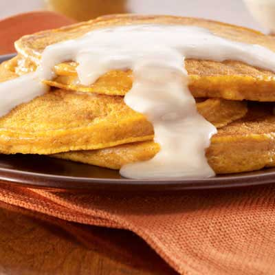 Pumpkin Pancakes with Maple Cream