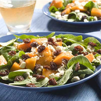 Raisin, Butternut Squash and Arugula Salad