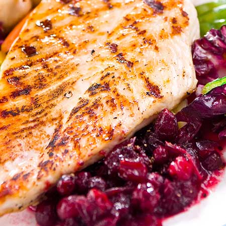 Roasted Chicken with Harvest Fruit and Vegetable Chutney
