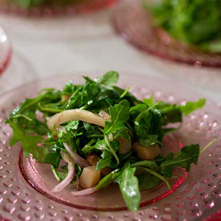 Roasted Fennel, Pear and Arugula Salad with Balsamic-Grape