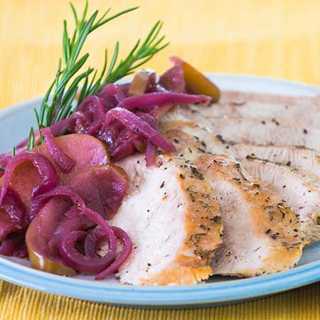 Roasted Turkey Tenderloin with Onion-Apple Compote