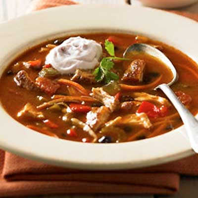 Savory Chili Chicken Soup with Cranberry Creme
