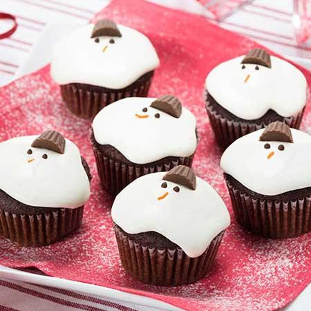 Sparkling Red Velvet Snowman Cupcakes