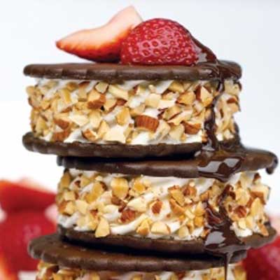 Stacked Ice Cream Sandwiches with Strawberries