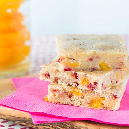 Strawberry Peach Blondies