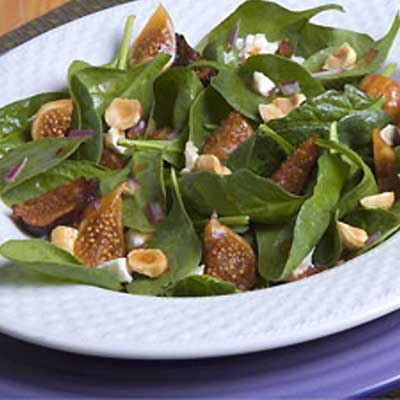 Warm Spinach Salad with Dried Figs and Feta