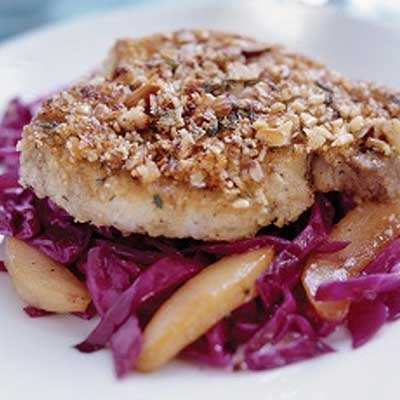 Almond-Crusted Pork Chops with Quick Cabbage & Pears