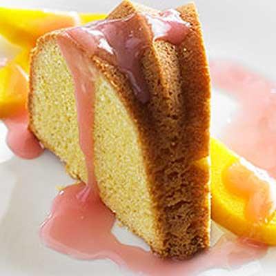Cornmeal Pound Cake with Cranberry-Mango Bourbon Sauce