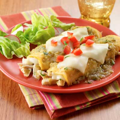 Chicken & Tomatillo Sauce Enchiladas