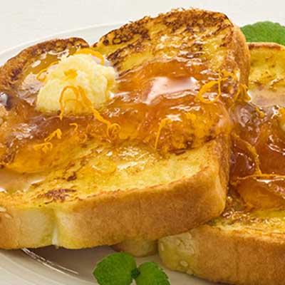 Almond-Stuffed Battered French Toast with Orange Glaze