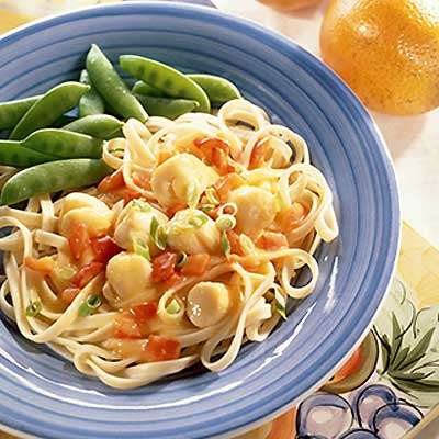 Orange Scallops Over Pasta