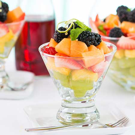 Fruit Salad with Grape and Ginger-Lime Syrup