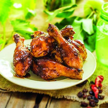 Roasted Drumsticks with Chipotle Raisin Glaze