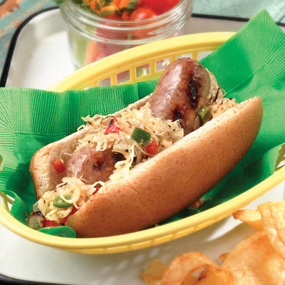 Brats with Spicy Sauerkraut