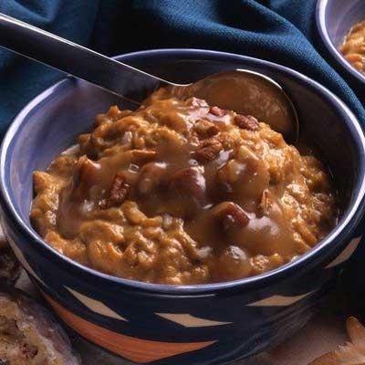 Pumpkin Rice Pudding with Apple Pecan Sauce