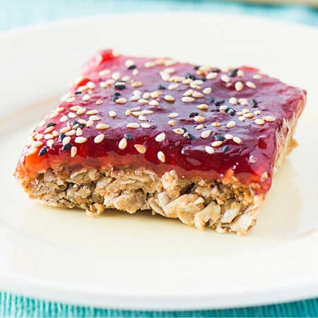 Reduced Sugar Strawberry Oat Bars