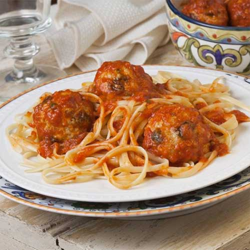 Marinara Poached Turkey Meatballs with Raisins