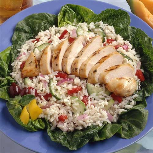Greek Rice Salad with Lemon Pepper Chicken