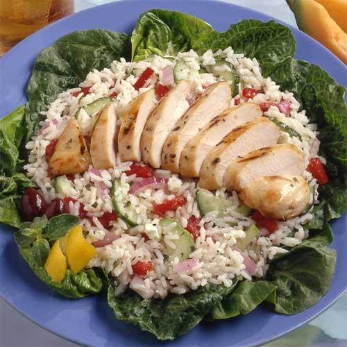 Greek Rice Salad with Lemon Pepper Chicken