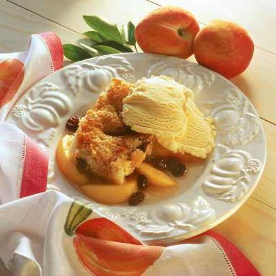 Peach Raisin Cobbler