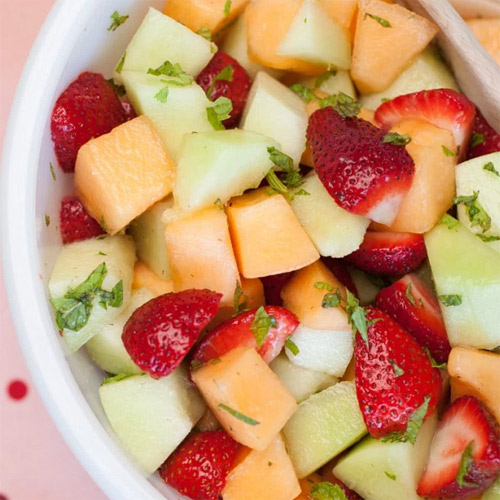Fruit Salad with Lemon and Mint Sauce