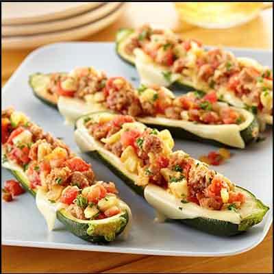 Spicy Italian Sausage Zucchini Boats