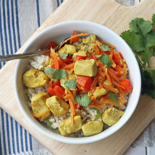 Caribbean Chicken Curried Brown Rice